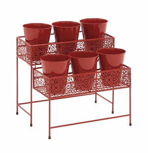 Eye-catching Styled Metal 2 Tier Plant Stand Red by Woodland Import