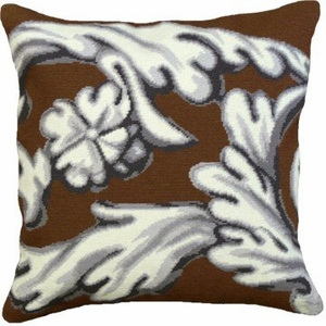 Eye Catching Styled Scroll-Brown Needlepoint Pillow by 123 Creations