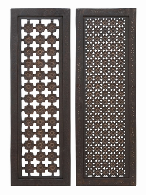 Eye catching Wall Panel 2 Assorted Set Carved And Painted In Dual Style Brand Woodland