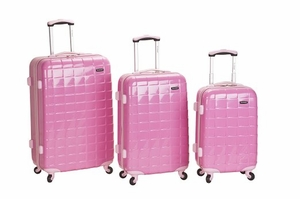 F129-PINK 3Pc Celebrity Polycarbonate/Abs Luggage Set