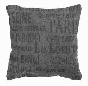 Fabric Pillow Decorated with Names of Parisian Landmarks Brand Woodland