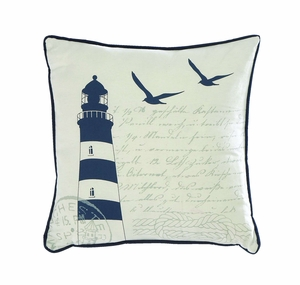 Fabric Pillow Embodied with Navy Blue Finish Brand Woodland