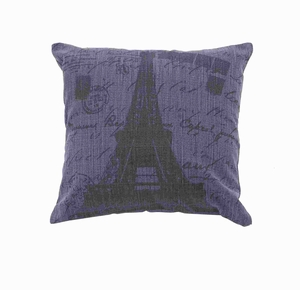 Fabric Pillow In Navy Blue Color With Faded Black Printing - 54172 by Benzara