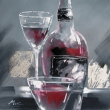 Fabulously Painted Wine and Two Glasses II Artwork by Yosemite Home Decor