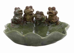 Fabulously Shaped Durable & Stylish Ceramic Bird Basin in Green Brand Woodland