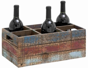 Faded Hues Wooden Box Shaped Portable Wine Holder Brand Benzara