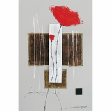 Fanciful Attractive Long Stemmed Red Flowers Artwork by Yosemite Home Decor