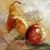 Fanciful Stylized Pear and Apple Fusion Artwork by Yosemite Home Decor