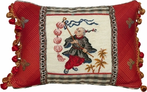 Fancy Boy with Lantern-Black & Red Petit Point Pillow by 123 Creations