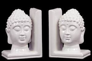 Fancy Ceramic Buddha Head Bookend White