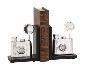 Fancy Styled Aluminum Bookend Pair by Woodland Import