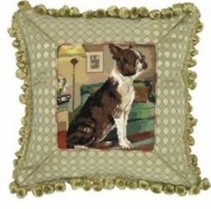 Fancy Styled Unique Boston Petit Point Pillow by 123 Creations
