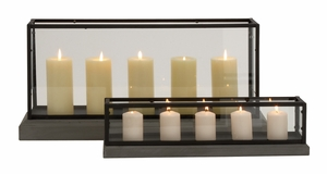 Fantabulous Modish Styled Wood Glass Candle Holder by Woodland Import