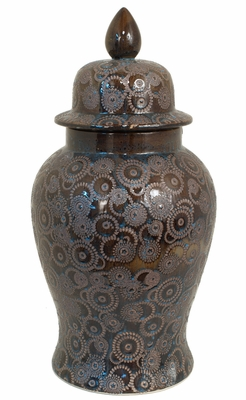 Fantastic Brown/BlueTemple Jar by Three Hands Corp