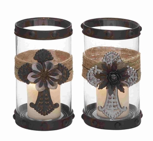 Fantastic Floral Glass Jute Candle Holder Brand Benzara