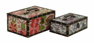 Fantastic Floral Patterned Wood Vinyl Box by Woodland Import