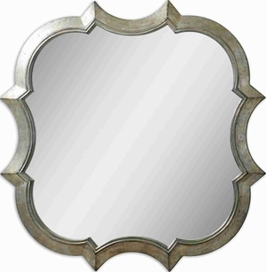 Farista Modern Wall Mirror with Antique Silver And Gray Finish Brand Uttermost