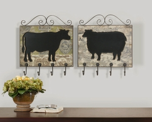 Farm Animal Plaques Wall Decor, Set/2, Wall Decor with Hooks Brand Uttermost