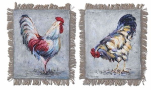 Farm Yard Kings Hand Painted Art with Burlap - Set of 2 Brand Uttermost
