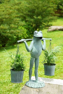 Farmer Frog Planter Holder Amusing Garden Decor With Purpose Brand SPI-HOME