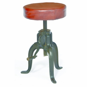 Fascinating Leather Stool by Yosemite Home Decor
