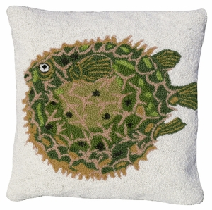 """Fascinating Puffer Fish Hooked Pillow 18x18"""" by 123 Creations"""