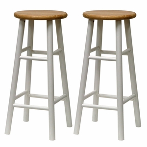 Winsome Wood Fascinating Set of 2 Beveled Seat - Stool