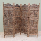 CARVED SCREEN SUN AND MOON , WOOD - Room Divider