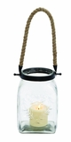Fascinating Styled Glass Rope Candle Lantern by Woodland Import