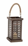 Fascinating Styled Metal Glass Lantern by Woodland Import