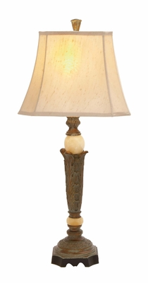 Fascinating Styled Polystone Marble Ball Table Lamp by Woodland Import