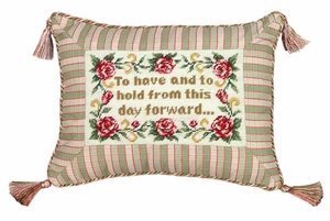 Fascinating To Have and To Hold Petit-Point Saying Pillow by 123 Creations