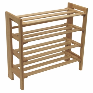 Fascinating Unique Styled 4-Tier Shoe Rack by Winsome Woods