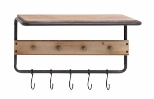 Fascinating Wood Metal Wall Hook Shelf by Woodland Import