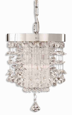 Fascination Crystal Mini Drum Pendant Lamp With Chrome Rim Brand Uttermost
