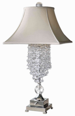 Fascination Silver Table Lamp with Cascading Crystals Brand Uttermost