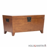 Fashionable Dorset Wooden Storage Trunk with Metal Handles by Southern Enterprises