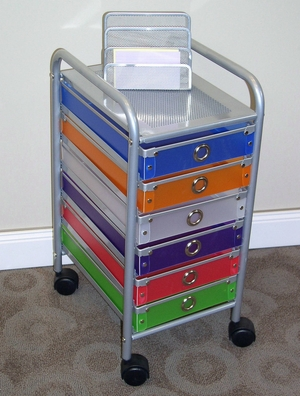 Fashionable Multicolored Six Drawer Rolling Storage Stand by 4D Concepts