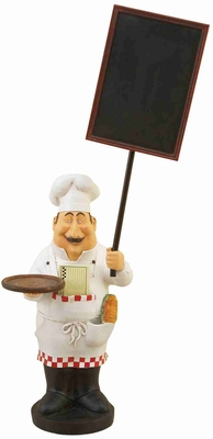 "Fat Chef With Chalk Board Menu And Tray 48""H Brand Woodland"