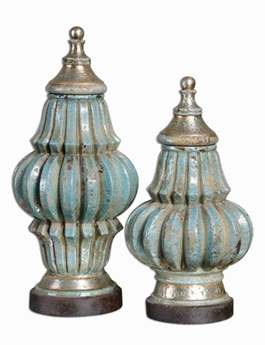 Fatima Style Decorative Urn Set With Crackled Sky Blue Finish Brand Uttermost