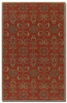 Favara Red 5' Rug with Beige Details and Oxford Blue Accents Brand Uttermost