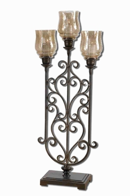 Fela Metal Candle Holder With Translucent Copper Brown Glass Brand Uttermost