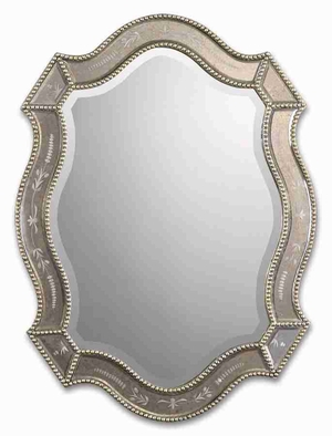 Felicie Oval Vanity Wall Mirror with Antique Mirror Edges Brand Uttermost