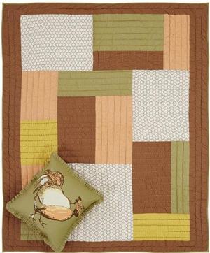 Fenced In Hand Quilted Throw with Pastel Block Patterns Brand VHC