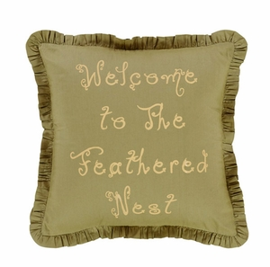 "Fenced In Pillow Fabric Stencil Welcome 16x16"" Brand VHC"