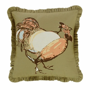 "Fenced In Pillow Stencil Rooster 16x16"" Brand VHC"