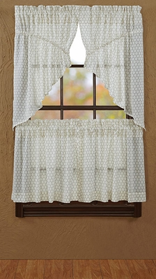 "Fenced In Prairie Swag Tobacco Cloth Unlined Set of 2 36x36x18"" Brand VHC"