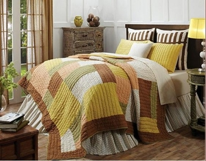 Fenced In Queen Quilt with Double Stitched Patchwork Pattern Brand VHC