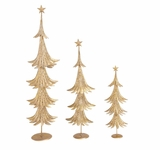 "Festive & Contemporary Metal Xmas Tree Set of 3 31"", 24"", 17""H by Woodland Import"