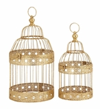 """Festive Metal Golden Bird Cages Set of 2 S/2 18"""", 15""""H by Woodland Import"""